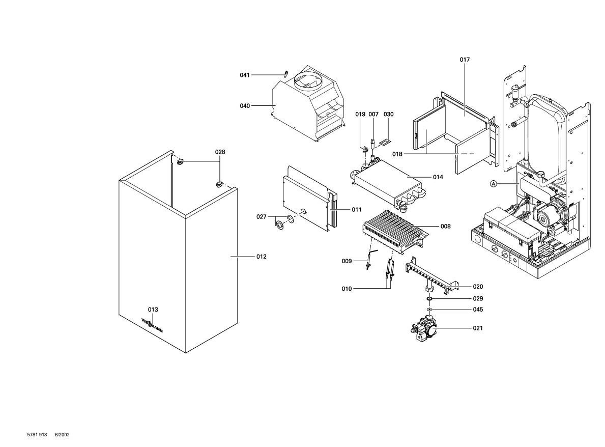 pi ce d tach e viessmann chaud vitopend 100 wh0 chemin e combi n. Black Bedroom Furniture Sets. Home Design Ideas
