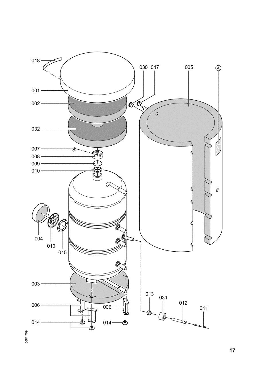 pi ce d tach e viessmann chauffe eau vitocell b 300 evb 300 lts n. Black Bedroom Furniture Sets. Home Design Ideas