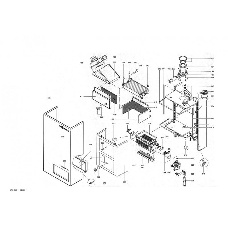 pi ce d tach e viessmann corps vitopend 100 simple serv ventouse n. Black Bedroom Furniture Sets. Home Design Ideas